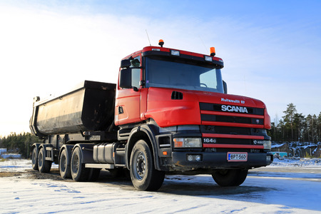 NAANTALI, FINLAND - FEBRUARY 15, 2015: Scania 164C 480 truck for construction. The 164C is a Scania 4-series truck with conventional cab manufactured in 1995-2004.