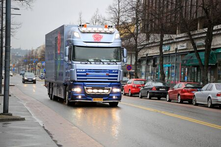 light duty: SALO, FINLAND - APRIL 12, 2015: Dutch DAF XF105 Flower truck in Finland. The Netherlands is the largest player in floriculture worldwide.