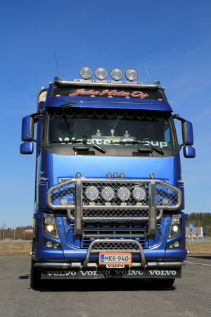 logging truck: FORSSA, FINLAND - APRIL 11, 2015: Volvo FH16 700 logging truck on a yard. The Volvo FH16 is intended for the very heaviest and most demanding of transport operations.