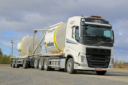 weber: LIETO, FINLAND - APRIL 19, 2015: Volvo FH truck is ready to transport Weber Saint-Gobain silos of construction materials. Saint-Gobain celebrates 350 years in 2015. Editorial