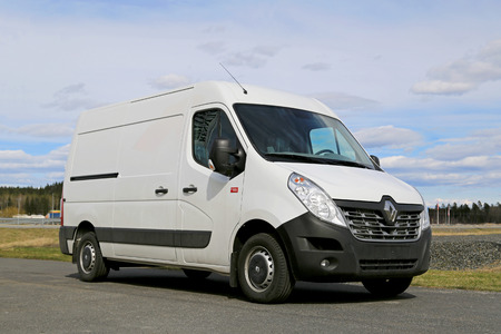 panel van: FORSSA, FINLAND - APRIL 25, 2015: New Renault Master Van parked. In terms of style, the 2014 Master boasts a new grille. Editorial