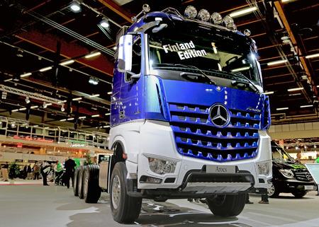 mb: HELSINKI, FINLAND - JUNE 11, 2015: Mercedes-Benz Finland presents MB Arocs 3663 Finland Edition truck at Logistics Transport 2015.
