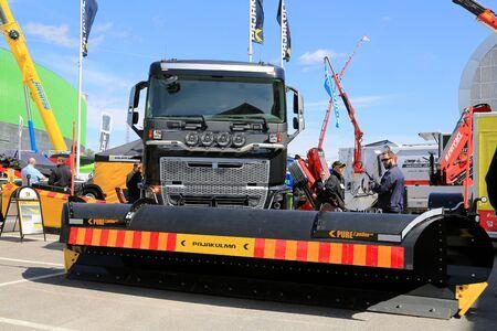 plough: HELSINKI, FINLAND - JUNE 11, 2015:  Pajakulma presents the PURE Epsilon 4.6 rotation plough at Logistics Transport 2015. Editorial