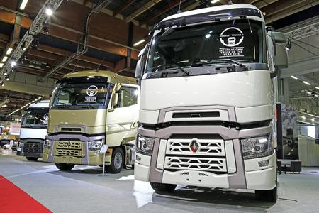 sleeper: HELSINKI, FINLAND - JUNE 11, 2015:  Renault Trucks presents the Range T with high sleeper cab at Logistics Transport 2015.