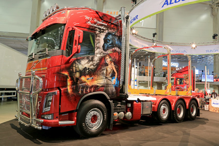 superstructure: HELSINKI, FINLAND - JUNE 11, 2015:  Volvo FH16 truck of MJ Hirvonen on display on the timber bunk and superstructure maker Alucars stand at Logistics Transport 2015. Editorial