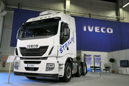 hiway: HELSINKI, FINLAND - JUNE 11, 2015:  Iveco Finland Oy presents Iveco Stralis Hi-Way 480hp Euro 6 truck at Logistics Transport 2015.