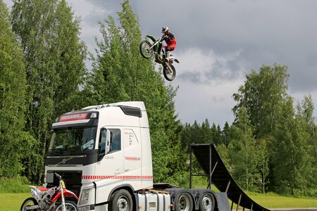co: PORVOO, FINLAND - JUNE 27, 2015: Freestyle Motocross Show by Joni Hynell  Co at Riverside Truck Meeting 2015 in Porvoo, Finland.