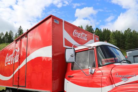 nostalgy: HAMEENLINNA, FINLAND - JULY 11, 2015:  International Loadstar 1890 vintage Coca-Cola truck at Tawastia Truck Weekend 2015. Editorial