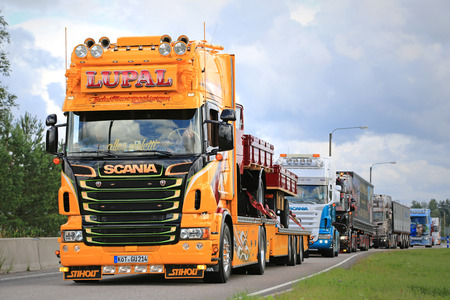 convoy: JALASJARVI, FINLAND - AUGUST 6, 2015: Scania of LUPAL Industrieverpackungen GmbH takes part in the truck convoy to Power Truck Show 2015 in Alaharma, Finland. Editorial