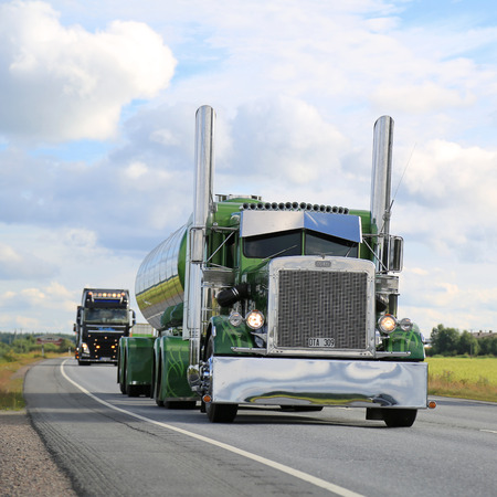 light duty: LUOPAJARVI, FINLAND - AUGUST 6, 2015: Peterbilt 359 year 1971 of Fredrik Biehl takes part in the truck convoy to Power Truck Show 2015 in Alaharma, Finland.