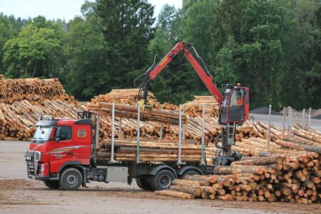unload: KYRO, FINLAND - AUGUST 1, 2015: Volvo FH and Hiab crane unload pine logs at mill lumber yard. The investments of the Finnish forest industry will increase by 50 percent in 2015. Editorial