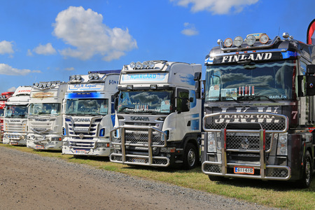 ALAHARMA, FINLAND - AUGUST 7, 2015: Row of Scania and Renault show trucks in Power Truck Show 2015.