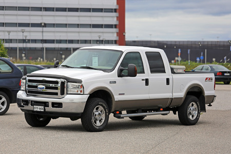 SALO, FINLAND - AUGUST 1, 2015: Ford Super Duty F-250 pickup truck parked. The Ford Super Duty is a line of trucks that were launched by Ford in early 1998.