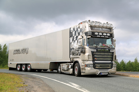 convoy: LEMPAALA, FINLAND - AUGUST 6, 2015: Scania Semi R620 R.U.Route from Slovakia participates in the Convoy to Power Truck Show 2015.
