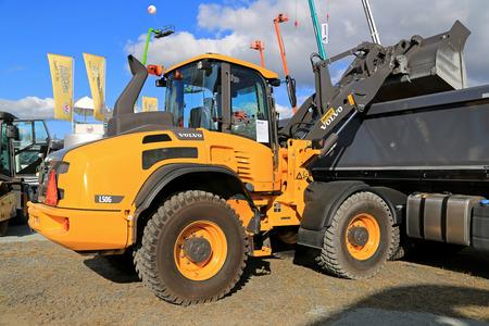 wheel loader: HYVINKAA, FINLAND - SEPTEMBER 11, 2015: Volvo L50GS Wheel loader on display at MAXPO 2015. Editorial