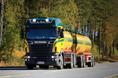light duty: SALO, FINLAND - SEPTEMBER 20, 2015: Scania R500 V8 tank truck on the road. Scania increased its market share in Europe to record high 17,2 percent during the Q1 of 2015.