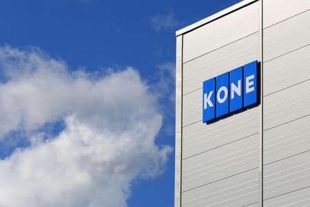 HYVINKAA, FINLAND -  SEPTEMBER 26, 2015: KONE Signage at KONE People Flow Center in Hyvinkaa. The business magazine Forbes ranks KONE among worlds top 100 most innovative companies. Redakční