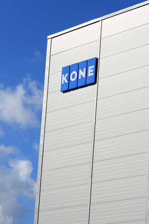 in the ranks: HYVINKAA, FINLAND -  SEPTEMBER 26, 2015: KONE Signage at KONE People Flow Center in Hyvinkaa. The business magazine Forbes ranks KONE among worlds top 100 most innovative companies. Editorial