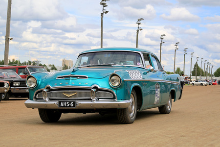 picknick: FORSSA, FINLAND - AUGUST 2, 2015: Classic turquoise Desoto Firedome 4-door sedan from the mid 1950s on Pick-Nick Car Show in Forssa, Finland.
