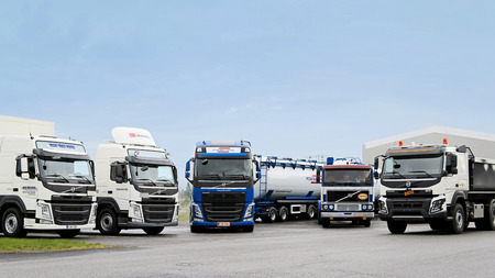 heavy duty: LIETO, FINLAND - NOVEMBER 14, 2015: Volvo Trucks for different transport needs were presented at the Volvo Truck Center Turku Demo Drive and Tire Service Event.