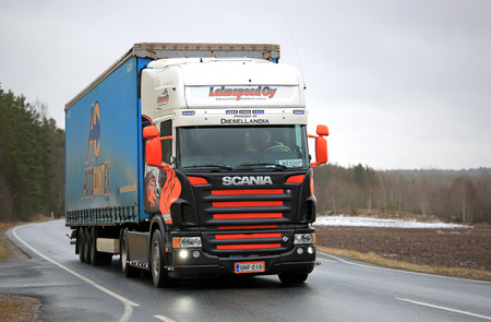 v8: SALO, FINLAND - JANUARY 30, 2016: Customized Scania V8 semi truck  of Lekospeed Oy on the road in South of Finland.