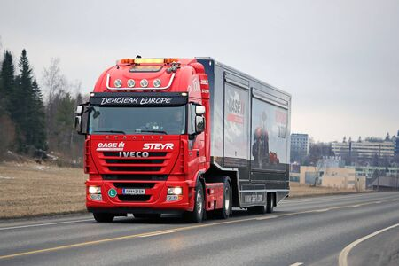 salo: SALO, FINLAND - MARCH 24, 2016: Red Iveco Stralis Semi on the road in Salo after the Case IH Red Power Tour in Turku, Finland.