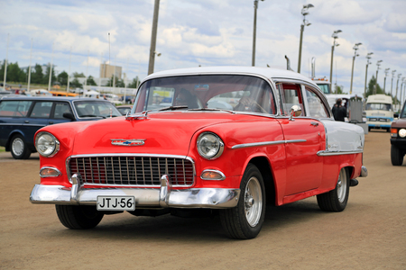 picknick: FORSSA, FINLAND - AUGUST 2, 2015: Classic car Chevrolet Bel Air of Second generation, manufactured between 1954-57, on the public event of Pick-Nick Car Show.