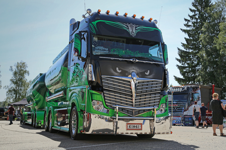 super highway: PORVOO, FINLAND - JULY 2, 2016: Super truck Mercedes-Benz Actros 2551 Highway Hero owned by Kuljetus Auvinen Oy on Riverside Truck Meeting 2016. Editorial