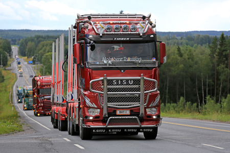 br: IKAALINEN, FINLAND - AUGUST 11, 2016: Sisu Polar Euro 6 logging truck of Br Holmberg Transport takes part in truck convoy to the annual trucking event Power Truck Show 2016 in Alaharma, Finland. Editorial