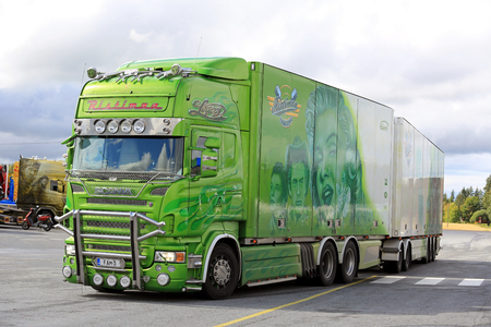 legend: JALASJARVI, FINLAND - AUGUST 11, 2016: Lime green Scania R500 year 2008 Legend of Ristimaa Trucking visits Jalasjarvi truck stop. Editorial