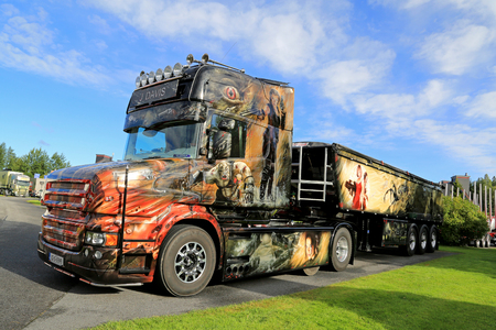 ALAHARMA, FINLAND - AUGUST 12, 2016: Customized Scania T580 Resident Evil of J Davis with elaborate artwork wins Best in Show category on Power Truck Show 2016 in Alaharma, Finland.