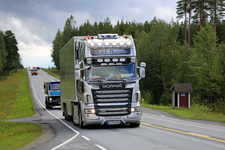 IKAALINEN, FINLAND - AUGUST 11, 2016: Scania semi R620 R.U. Route Nostalgia on the way to the annual trucking event Power Truck Show 2016 in Alaharma, Finland. Editorial
