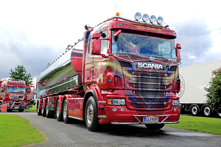 ALAHARMA, FINLAND - AUGUST 12, 2016: Scania semi R500 year 2012 ZZ Top of Kuljetusliike Mika Laakso Oyfor bulk transport on display on Power Truck Show 2016 in Alaharma, Finland.