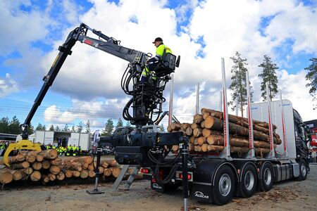 finalist: JAMSA, FINLAND - SEPTEMBER 2, 2016: Unnamed finalist competes in the Finnish Championships in Log Loading 2016, held at FinnMETKO 2016.