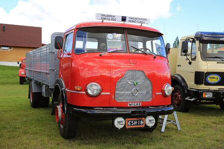 carl: ALAHARMA, FINLAND - AUGUST 12, 2016: Rare Wilke oldtimer truck year 1964 of Carl-Johan Blomqvist on Power Truck Show. Ca 120 Wilke Trucks were manufactured by Wihuri during 1958–1964 in Pernio, Finland with technology by Volvo.