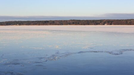 very cold: Frozen pastel blue sea on a very cold winters day in South of Finland.  Stock Photo
