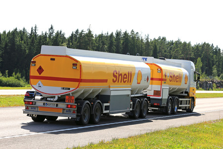 PAIMIO, FINLAND - JULY 1, 2016: Royal Dutch Shell plc, commonly known as Shell, fuel truck hauls jet fuel along freeway on a sunny day if summer. The ADR code 30-1863 signifies aviation fuel. Editorial
