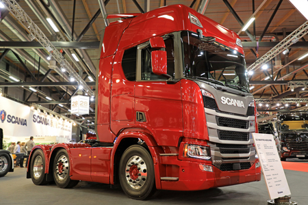 JYVASKYLA, FINLAND - MAY 18, 2017: Scania Finland presents Next Generation Scania R500 A6X2 4NB truck on Kuljetus 2017, a professional event for transportation and logistics.