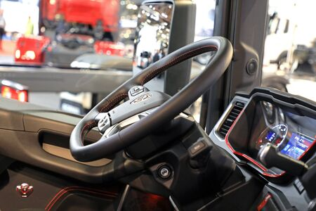 JYVASKYLA, FINLAND - MAY 18, 2017: Next Generation Scania truck steering wheel and interior as seen on Kuljetus 2017, on Kuljetus 2017, a professional event for transportation and logistics. Editorial