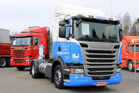LAUKAA, FINLAND - MAY 19, 2017: LNG or liquified natural gas powered Scania G340 truck of Gasum on Scania Exhibition on Scania Center Central Finland, Public Event.