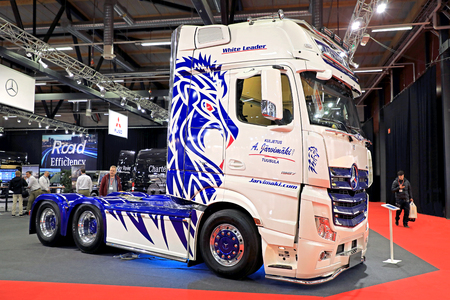 hauler: JYVASKYLA, FINLAND - MAY 18, 2017: Mercedes-Benz Actros White Leader of Kuljetus A. Jarvimaki Oy on display on Kuljetus 2017, a professional event for transportation and logistics. Editorial