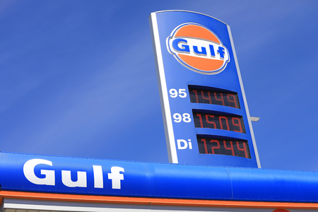 MIETOINEN, FINLAND - JUNE 3, 2017: The iconic Gulf fuel station sign with gas and diesel prices against blue sky at the Gulf petrol station of Mietoinen in South of Finland.