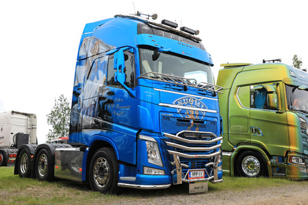 hauler: LOVIISA, FINLAND - JULY 1, 2017: Blue Volvo FH500 truck of Kuljetus V-P Puurunen with the theme of Finland 100 years on display on Riverside Truck Meeting 2017.