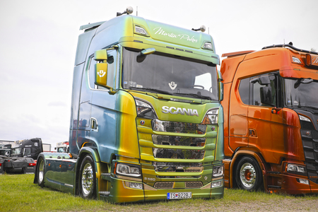 LOVIISA, FINLAND - JULY 1, 2017: Beautifully customized Next Generation Scania S580 of Martin Pakos with special paintwork and chrome details on Riverside Truck Meeting, Finland.
