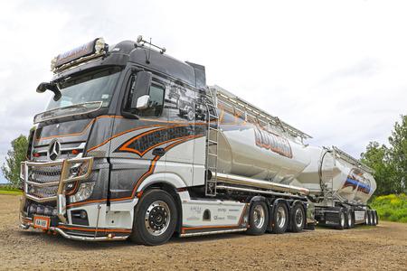 daimler: LOVIISA, FINLAND - JULY 1, 2017: Mercedes-Benz Actros Uniq Concept of Kuljetus Auvinen on display on Riverside Truck Meeting, Finland. Editorial