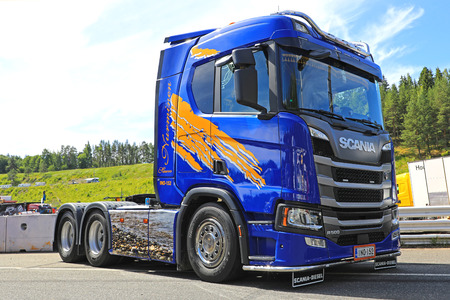 HAMEENLINNA, FINLAND - JULY 15, 2017: Customized Next Generation Scania R500 semi tractor of Kuljetus Petri Nurminen on display on Tawastia Truck Weekend 2017. Editorial