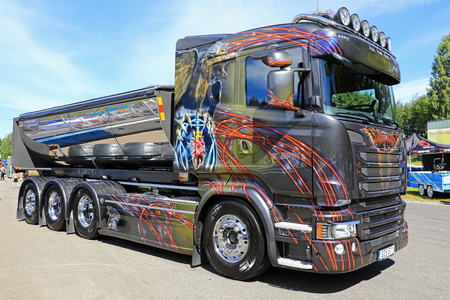 HAMEENLINNA, FINLAND - JULY 15, 2017: Beautifully customized Scania tipper truck from Sweden as seen on the annual Tawastia Truck Meeting 2017. Editorial