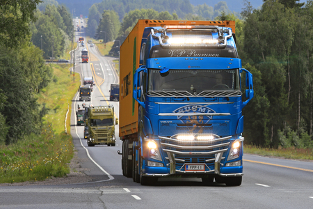 light duty: IKAALINEN, FINLAND - AUGUST 10, 2017: Volvo FH Suomi 100 of V-P Puurunen moves along road in truck convoy to Power Truck Show 2017 in Alaharma, Finland. Editorial