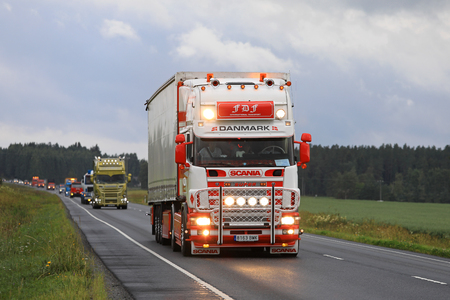 light duty: LUOPAJARVI, FINLAND - AUGUST 10, 2017: Fermin Faioes Diequez from Spain with Scania 144L 460 bright headlights on travels the longest distance to take part in the Finnish Power Truck Show and the convoy.