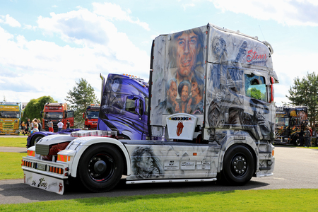 ALAHARMA, FINLAND - AUGUST 11, 2017: German Scania R480 truck tractor Rolling Stones with images of the famous rock band on display on Power Truck Show 2017. Editorial